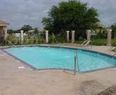 Vizcaya Subdivision, Pharr,White Plaster, Commercial Pool, Geometric Pool, Deck Jets, Coping Brick, Stamped Concrete