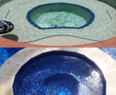 All Glass Mosaic Spa, Safety main drains, PV3 Retro, Travertine Coping