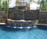 Elevated Water feature, Spa, scuppers, Flagstone, Cadet Blue Pebble, Water Bowl